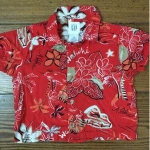 Baby Gap 6-12 M Red Orange Hawaiian Floral Shirt